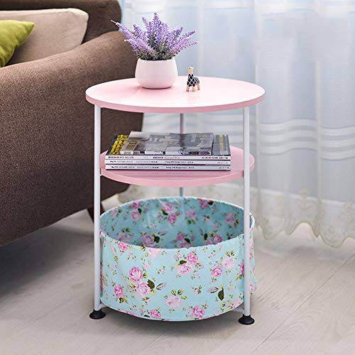 Modern Koffietafel, Metal Ronde Nachtkastje, met verstelbare Foot Pad en Demonteer Fabric Storage Basket, 3-Tier Side Table voor Living Room Slaapkamer,Pink