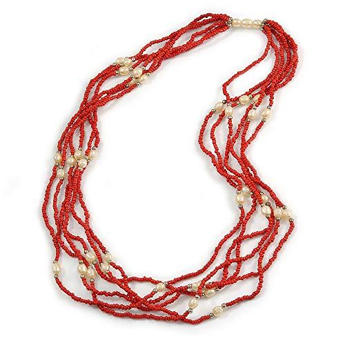 Avalaya - Collar Largo de Perlas de imitación de Cristal Rojo y Crema, 70 cm de Largo