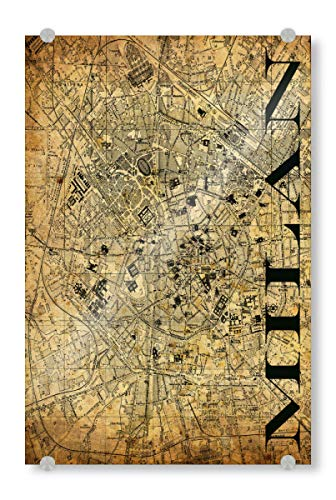 artboxONE Acrylglasbild 90x60 cm Typografie Retro Map Milan Sepia Bild hinter Acrylglas - Bild Karte map Stadt