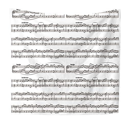 FLIPS Musik Wandteppich Wandbehang,Musiknote Hippie Bunten Boho Mandala Tapisserie Wandteppich Zu Schlafzimmer Wohnzimmer,Tischdecke,Picknick,Decke,Werfen D 200x150cm(79x59inch)