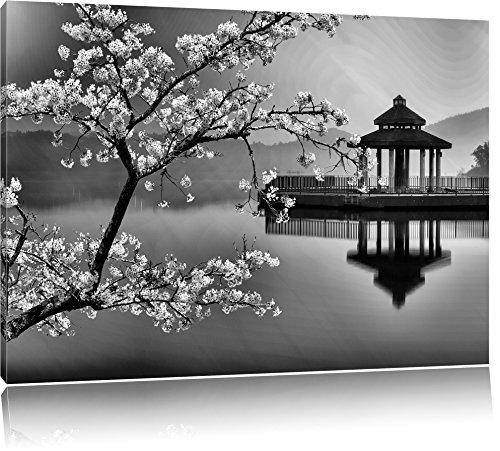 Pixxprint Kirschbaum an See als Leinwandbild | Größe: 100x70 cm | Wandbild | Kunstdruck | fertig bespannt