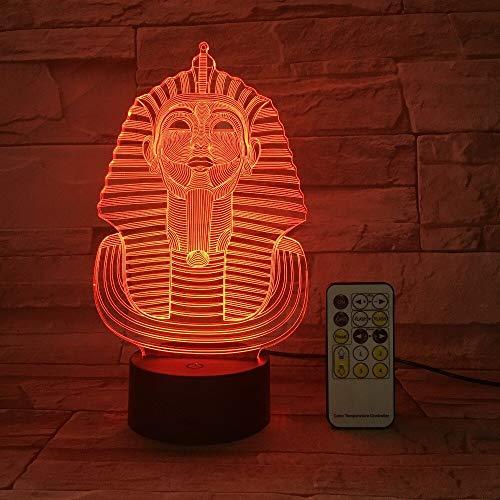 jiushixw 3D acryl nachtlampje met afstandsbediening van kleur veranderende lampenbox Sphinx Pharao aansteker heldere nacht goud display geschenk frequentie geschenk traditionele stijl tafellampvoet