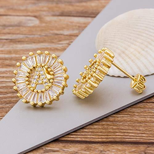 WDam 26 Pendientes con Letras Iniciales Regalo Personal para Mujeres Pendientes de botón de Oro/Blanco/Rosa con Lindo Alfabeto Joyas-M, Plata