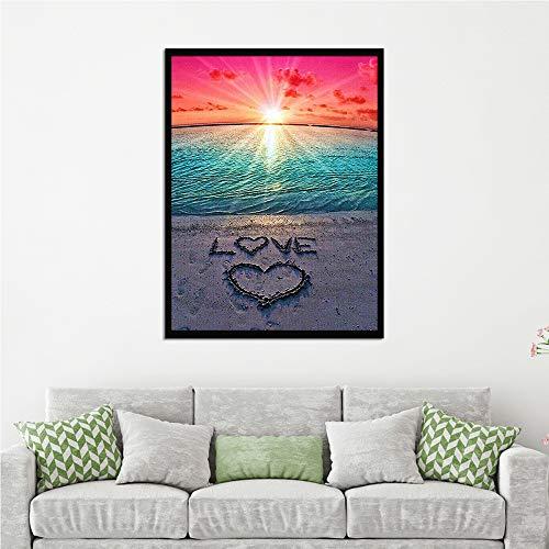 Baodanla Geen lijst strand diamant liefde hartvormige hoofddecoratie modern olieverfschilderij