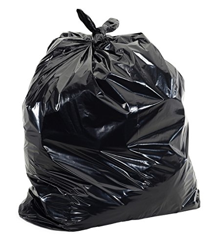 55-60 Gallon Trash Liners - (Value 100 Pack) - 1 MIL Strength Black Plastic Garbage Bags 38' x 58' for 50-55 Gal Cans - Fits Toter, Rubbermaid Brute, Carlislie Bronco etc.