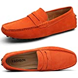 Ezkrwxn Men's Loafers Suede Leather Slip on Driving Shoes Moccasins Flat Dress Shoes (2088-Orange-42)