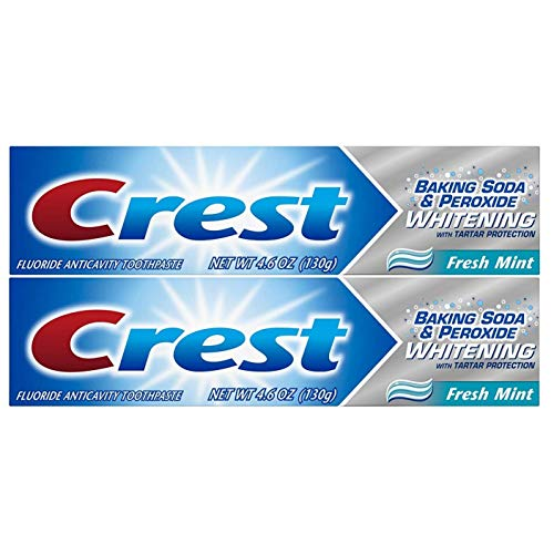 Crest Baking Soda & Peroxide Whitening Toothpaste with Tartar Protection, Fresh Mint 4.6 oz (130g) - Pack of 2