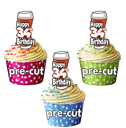 PRECUTA - Juego de 12 adornos comestibles para cupcakes, diseño de cerveza y pinta de Ale, 34 cumpleaños