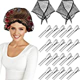 2 Pieces Cotton Triangle Hair Net Women Hair Net Mesh Crochet Hair Net with 50 Pieces Double Prong Curl Hair Clips for Rollers Sleeping Hairdressing