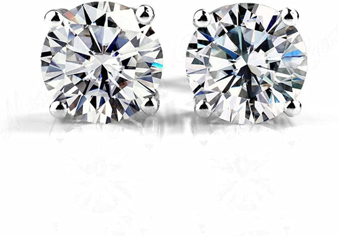 Certified 4Ct Round Cut Moissanite Solitaire Stud Earrings 14K White Gold Plated