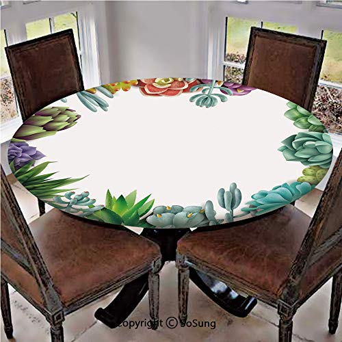 """Elastic Edged Polyester Fitted Table Cover,Frame with Various Succulent Plants Collection Vivid Garden Tropical Nature Image Decorative,Fits up 40""""-44"""" Diameter Tables,The Ultimate Protection for Your"""