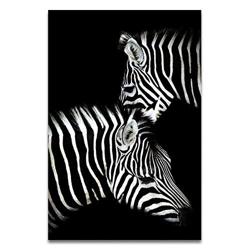 Lolobeauty Elefante Zebra León Jirafa Rinoceronte Negro Blanco Animal Lienzo Pintura Art Print Poster Picture Decoración de la Pared,AN226-7,50x70cm Sin Marco