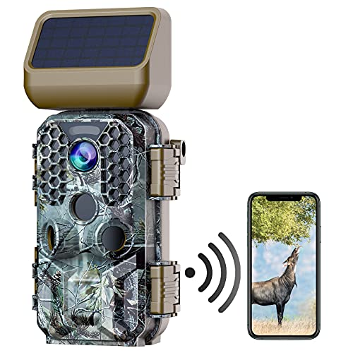 Wildlife Camera Solar Powered 4K Native 30MP WiFi Bluetooth Trail Camera with Night Vision Motion Activated Waterproof Hunting Game Camera with MP4 Video 2.4″ Screen for Outdoor Wildlife Monitoring