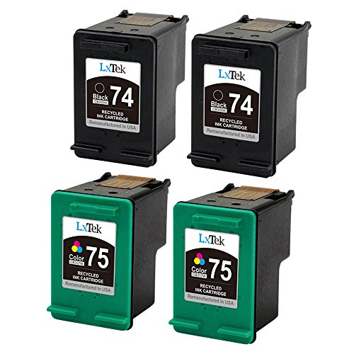 LxTek Remanufactured Ink Cartridge Replacement for HP 74 & HP 75 (2 Black | 2 Tri-Color) CB335WN CB337WN