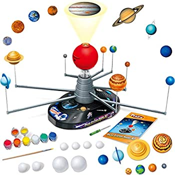 Playz Large Solar System Model Kit with 4 Speed Motor HD Planetarium Projector 8 Painted Planets and 8 White Foam Balls with Paint and Brush for a Hands-On STEM DIY Project for Space Toys