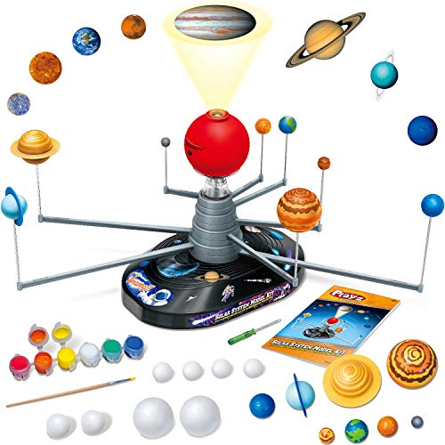 Playz Large Solar System Model Kit with 4 Speed Motor, HD Planetarium Projector, 8 Painted Planets, and 8 White Foam Balls with Paint and Brush for a Hands-On STEM DIY Project for Space Toys