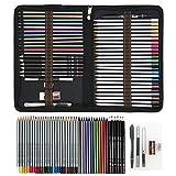 Crayon de Couleur Professionnel pas Cher Set pour livres de coloriage, pour adultes ou enfants, 50PCS Crayons de Dessin Crayons Croquis Kit de Croquis Dessin avec Sac