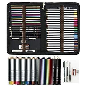 Lápices de Colores para Dibujo Profesional,Set Dibujo Artistico – 48 Colores únicos para Libro de Colorear para Adultos…