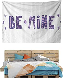 Typographic Text and Hearts Color Mountain Wall Hanging Tapestry, Art Wall Hanging, Mural for Bedroom, Living Room, Dorm, Home Decoration, 90.5W x 59L Inches