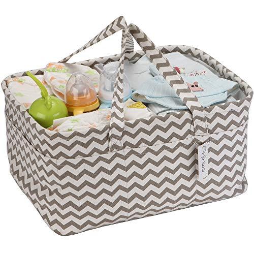 Hinwo Baby Windel Caddy 3-Compartment Infant Nursery Tote Aufbewahrungsbehälter Tragbare Organizer Neugeborenen Dusche Geschenkkorb mit abnehmbarem Teiler 17 unsichtbaren Taschen für Windeln