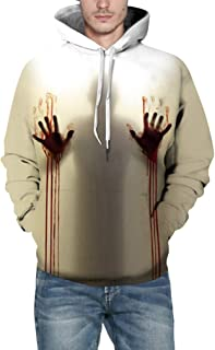 Halloween Costume Women Men Scary Skeleton Blood 3D Print Hoodie Sweatshirt Top