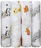 """Cuddlebug """"Safari & Fre&e"""" 4 Stück 120 cm x 120 cm lange Baby Decke für Babys   5 Farbkollektionen   Musselin Decke   Babydecke Mädchen oder Jungen   Babydecke Baumwolle"""