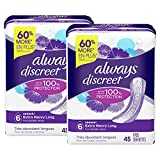 Always Discreet Extra Heavy Long Incontinence Pads, Up to 100% Leak-Free...