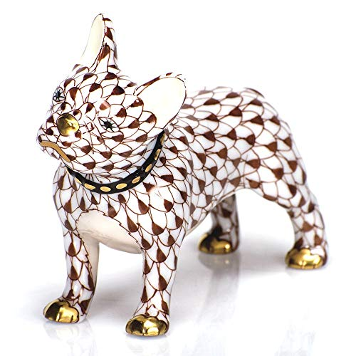 Herend Puppy Dog Frenchie Porcelain Figurine Chocolate Fishnet