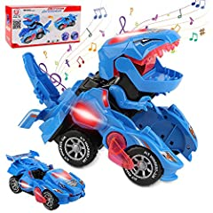 【Automatic Transformation: Dinosaur cars is a toy that combines dinosaurs and cars into one!It can be automatically turn into a dinosaur!Once the car shapes into a dinosaur, it makes a roaring sound.After driving for a while, the car automatically tr...