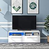 ZYLLZY Fernsehschrank weiß Hochglanz mit LED-Leuchten, TV-Lowboard für 55-Zoll-Fernseher, Fernsehtisch mit Stauraum und 2 Schubladen Wohnzimmermöbel Entertainment Center, 120 x 40 x 55 cm