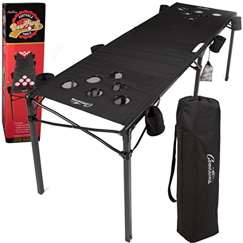 Camerons Portable Beer Pong Table- Collapsible 6 FT Beach Size Beirut Table w Cup Holders, 6 Balls,...