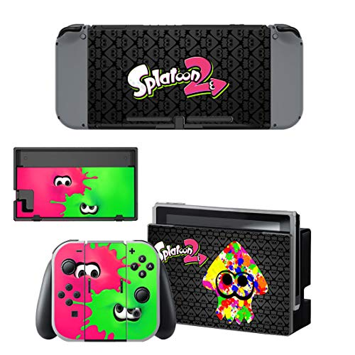 Splatoon 2 Nintendo Switch Skin, Decal, Vinyl, Sticker, Faceplate - Pink & Green Multi Coloured Squid Character Skin Design - Protective Cover