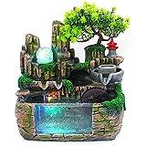 WLQWER Decoración de Cascada de Fuente de Mesa, humidificador de Escritorio atomizador con acuarios de rocalla, humidificador atomizador de Plantas para la decoración del Dormitorio del hogar
