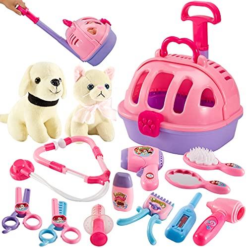 LINFUN KIDS Giochi Veterinario Dottore Bambini Kit con Gatti Cane Peluche, 2 in 1 Veterinario Carrello Valigetta Regalo per Bambina 3 Anni (Rosa)