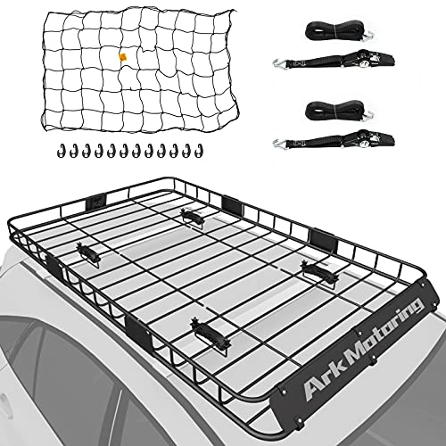 Ark Motoring Roof Rack, 64'x 39' Rooftop Basket Cargo Carrier with Rack Extension, Tie Down Strap...