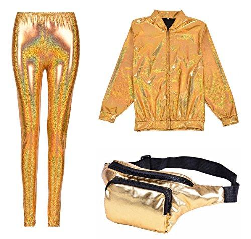 BFD One Metallic Shiny Bomber Jacket met gratis bijpassende legging en Bumbag. Ideaal voor vrouwen en mannen maat medium en groot in zilver goud turquoise paars of groen. Koud wassen