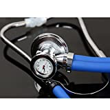Multifunctional Double Tube Stethoscope with Timer,Quartz Clock, Machined Zinc Alloy Chestpiece Bell-Shaped Head, Royal Blue Color Tube