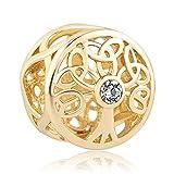 Sug Jasmin Golden Family Tree of Life charm Beads Fits braccialetti europei, base metal, colore: White, cod. SJC_DPC_DH429_X04