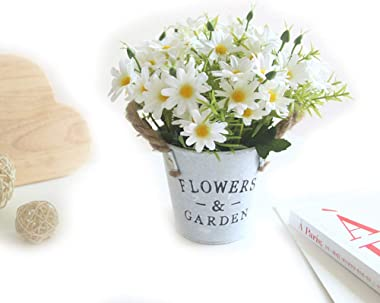 Charmly Artificial Flowers Potted European Style Design Silk Daisy Arrangements Bonsai House Office Restaurant Table Centerpi