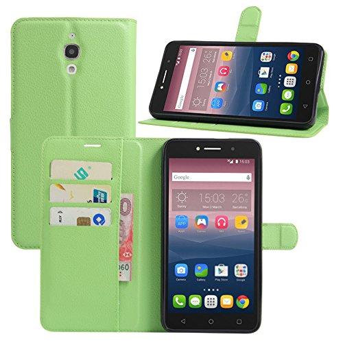 HualuBro Alcatel Pixi 4 (6 Zoll) 3G Hülle, Leder Brieftasche Etui Tasche Schutzhülle HandyHülle [Standfunktion] Lederhülle Flip Case Cover für Alcatel OneTouch Pixi4 6.0 Zoll 3G 8050D (Grün)