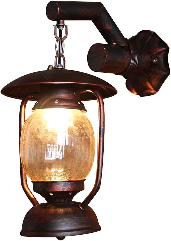 Wandlampe Antik Wandleuchte Vintage Metall Retro Glas Innen Dachboden Terrasse Restaurant Café Wohnzimmer und Studie
