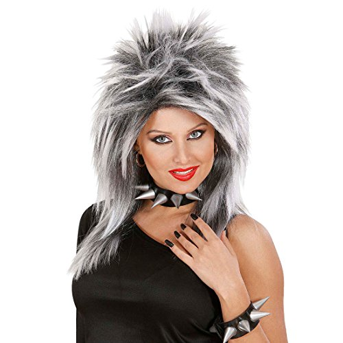 NET TOYS Perruque Femme stylisée Rock Star Tina en Gris Perruque de Rock Star Perruque de Carnaval Perruque de Femme Carnaval