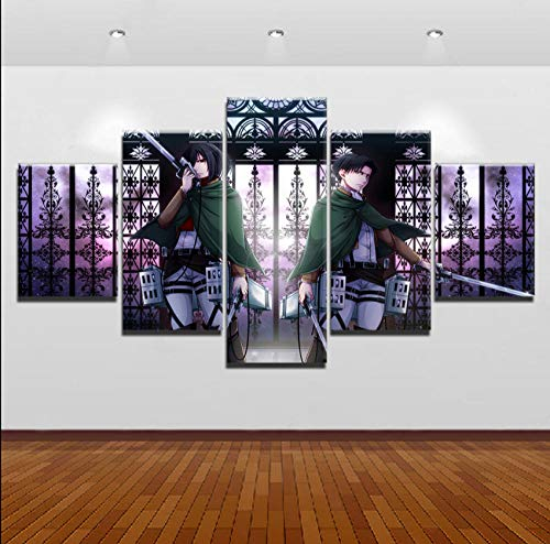 GTRB 5 Leinwandbilder Wandkunst Leinwand Anime Malerei 5 Panel Angriff auf Titan Levi Ackerman Mikasa Ackerman Poster Bild Bild auf Leinwand