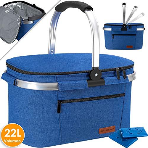 Kesser® 22L Kühlkorb Kühltasche faltbar Groß Kühlbox Isoliertasche Thermotasche Picknicktasche für Lebensmitteltransport Lunchtasche Isoliert für Aufbewahrung von Wärme und Kälte Blau