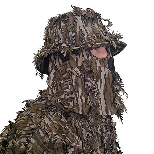 QuikCamo Mossy Oak Bottomland Original Camo Bucket Hat with Built-in 3D Leafy Face Mask, Turkey Hunting Gear for Ghillie Suits and Bowhunting (Adjustable, One Size Fits Most)
