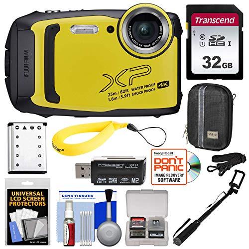 Fujifilm FinePix XP140 Shock & Waterproof Wi-Fi Digital Camera (Yellow) with 32GB + Battery + Case + Selfie Stick + Kit (Renewed)