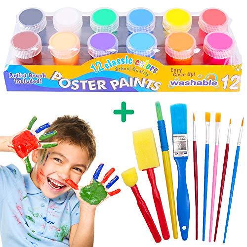 AYUQI Pintura de Dedos para NiñOs, Temperas Lavables, Temperas para Niños Lavable, 20ml 12 Colores Pinturas para Pintar con Los Dedos, Gouache para niños Pintura Escolar con los Dedos