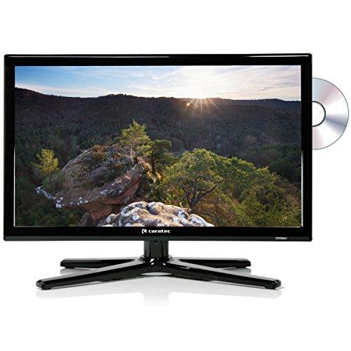 Caratec Vision CAV196DSW Weitwinkel LED TV, DVB-T2 HD, 19 Zoll, 47 cm, DVD-Player, HDMI, USB, Abnehmbarer Standfuß, mit Fernbedienung, schwarz, ideal für Wohnmobil und Caravan