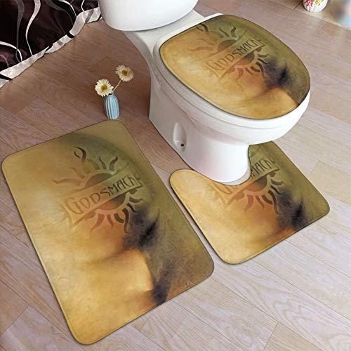 Gods-m-ack - Juego de alfombrillas de baño y pedestal, antideslizantes, absorbentes de agua, poliéster, para baño, bañera, ducha, inodoro, lavable a máquina, 49,5 x 80 cm