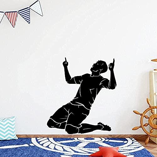 Kinderzimmer Kunst Abnehmbare Vinyl-Wandaufkleber Fußballtapete 52X57Cm